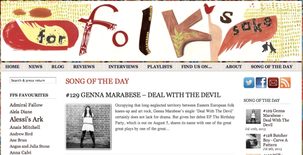 For Folk's Sake SONG OF THE DAY - Deal With The Devil ForFolksSake.com read more